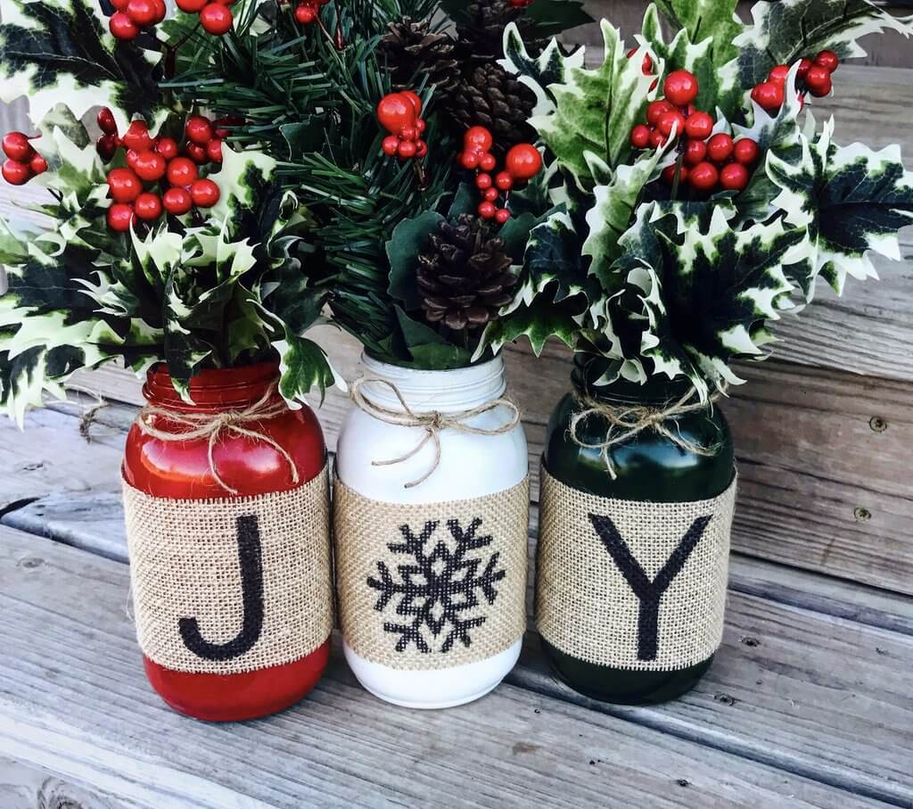 Patterned Burlap Wrapped Canning Jars