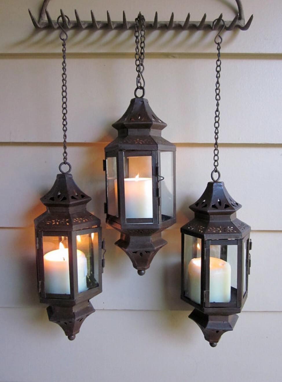 Three Pierced Lanterns on a Rake Hanger