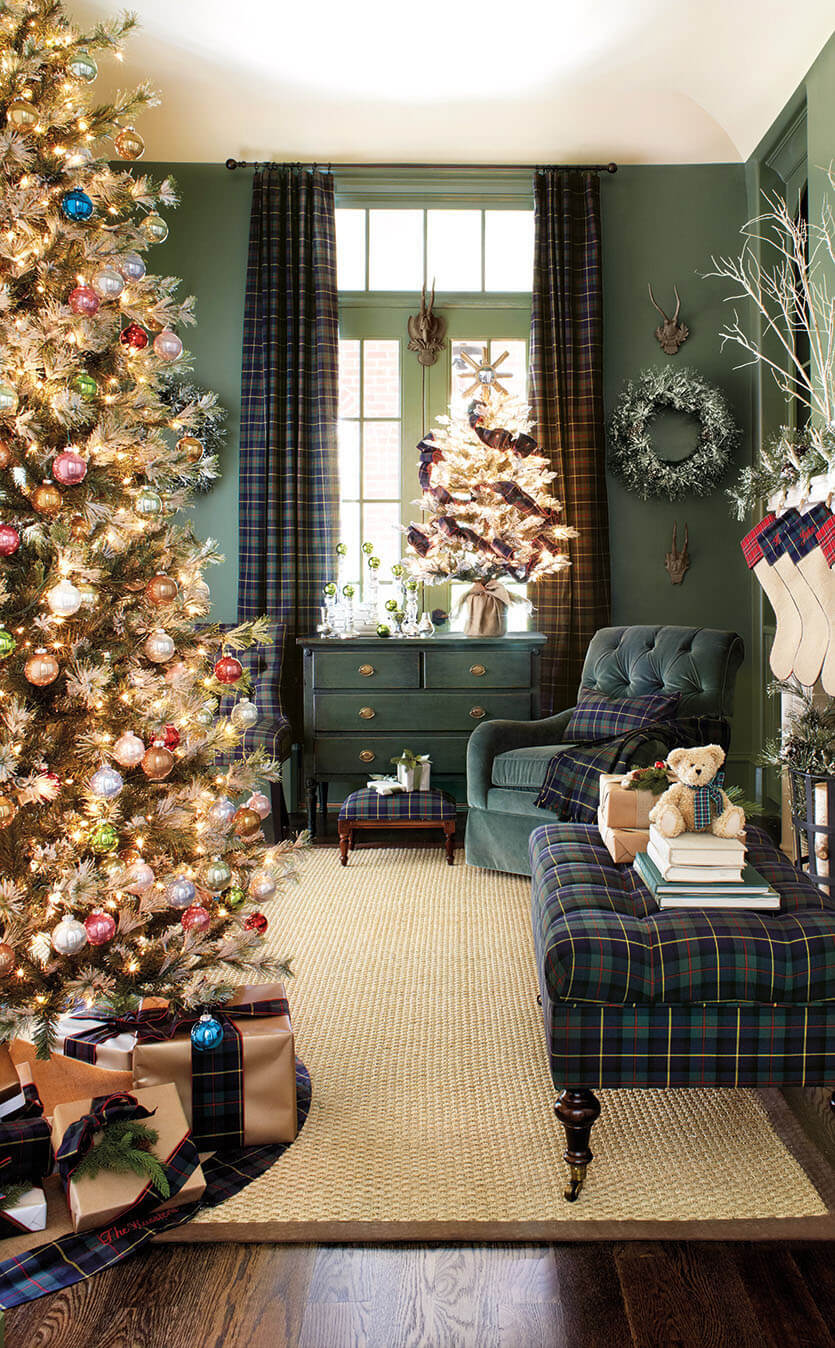 Gold Bedecked Tree in Blue Plaid Room