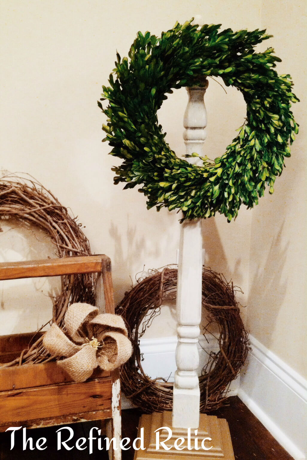 Bucolic Pedestal Style Wreath Display