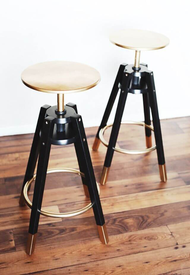 Retro Stools with Metallic Finish