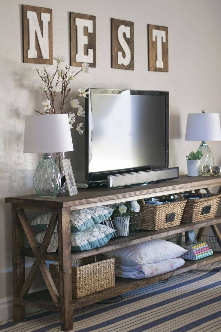 Nest Sign, Rattan Baskets, And TV Table Design