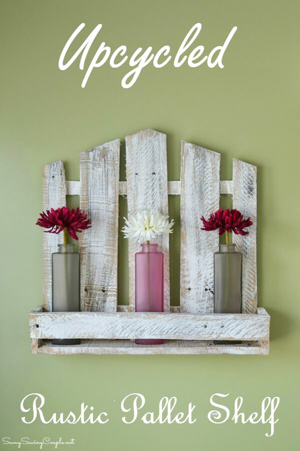 Upcycled Stylish Rustic Pallet Shelf