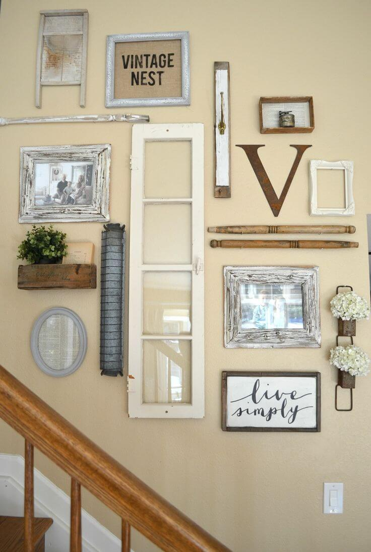 Upcycled Architectural Salvage Stairway Wall
