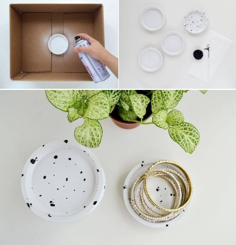 Black and White Paint-Splattered Plant Pots