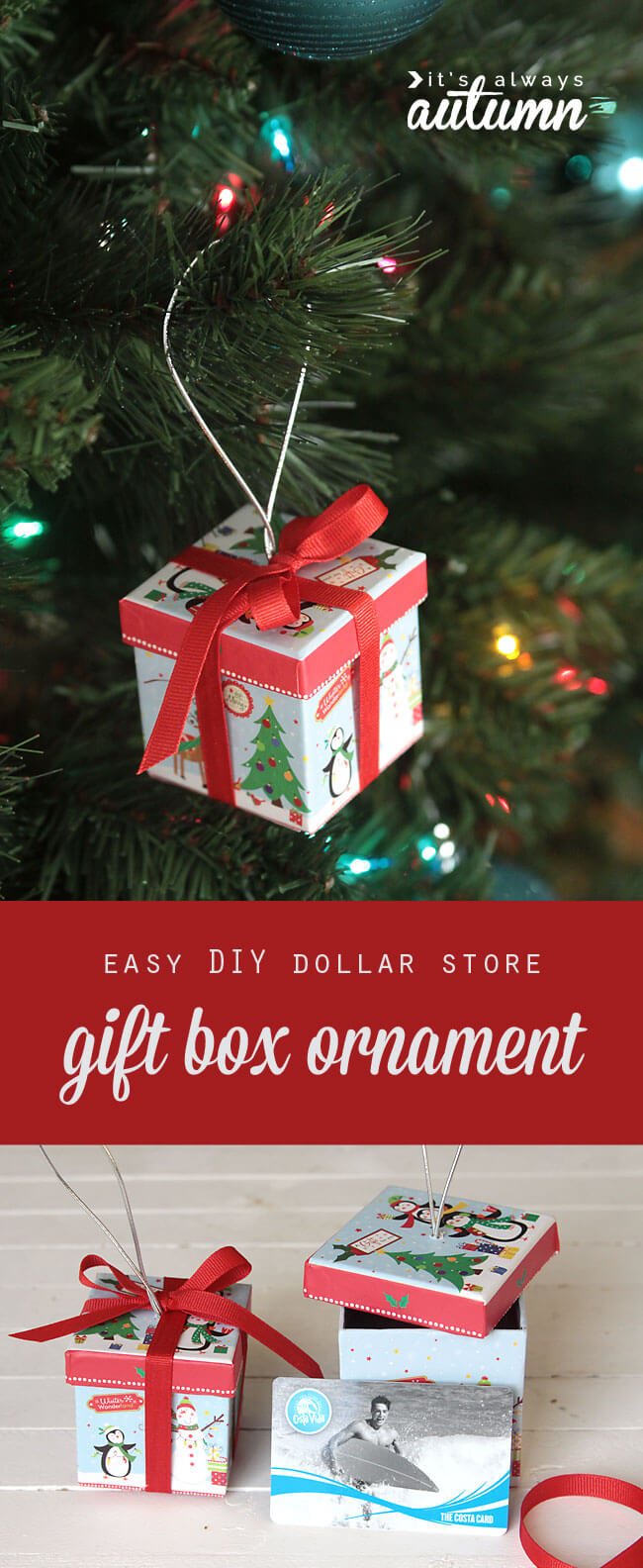gift box ornaments for christmas day surprises - Dollar Store Christmas Crafts