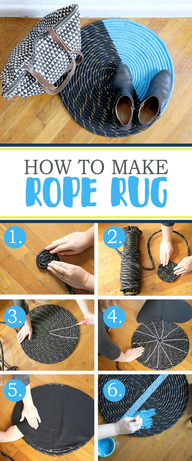 Quick Two-Toned Rope Rug Tutorial