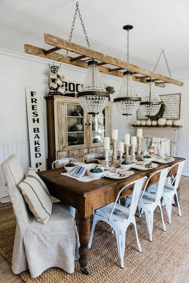 Ultimate Shabby Chic with Ladder and Chandeliers