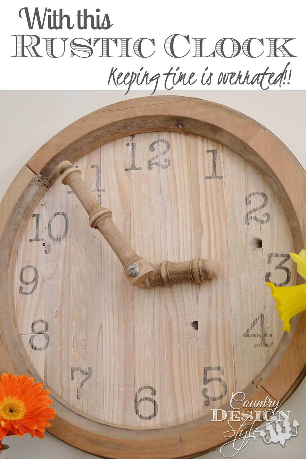 Rustic Wooden Clock Country Accent