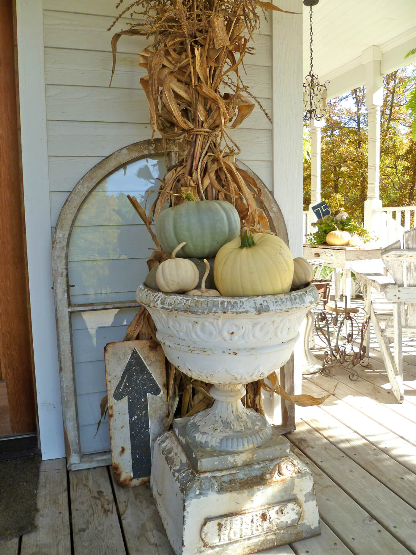 Stunning Fall Urn & Found Sign Decorations