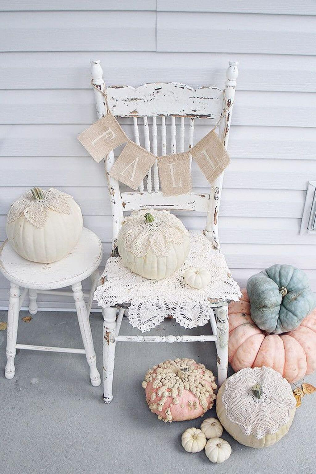 Lovely Old Chair with Romantic Rose Pumpkins