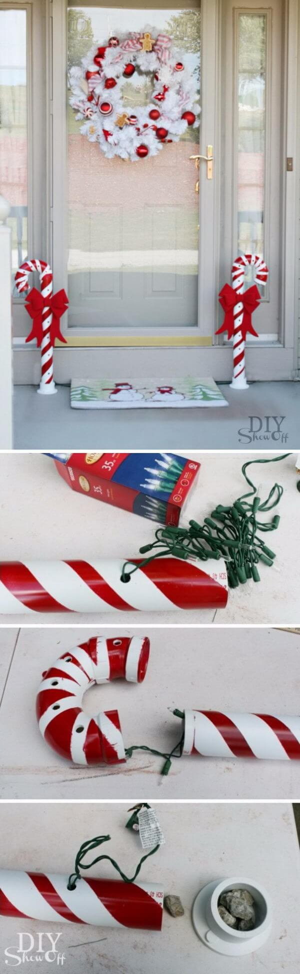 Lighted PVC Candy Cane Set