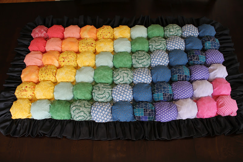 Mixed Pattern Rainbow Pouf Rug