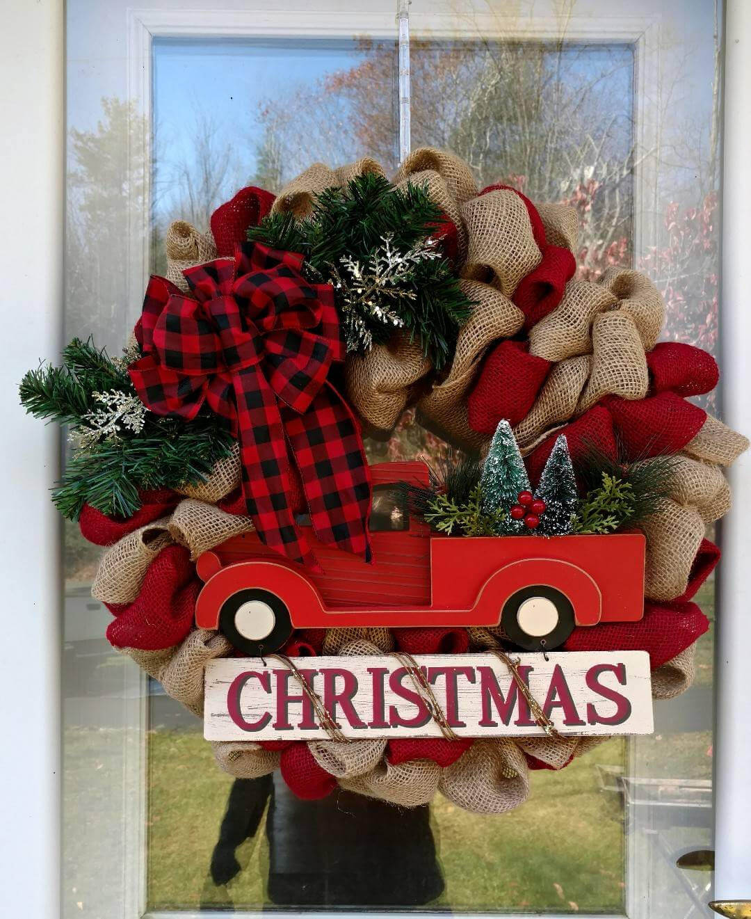 old fashioned truck and burlap wreath