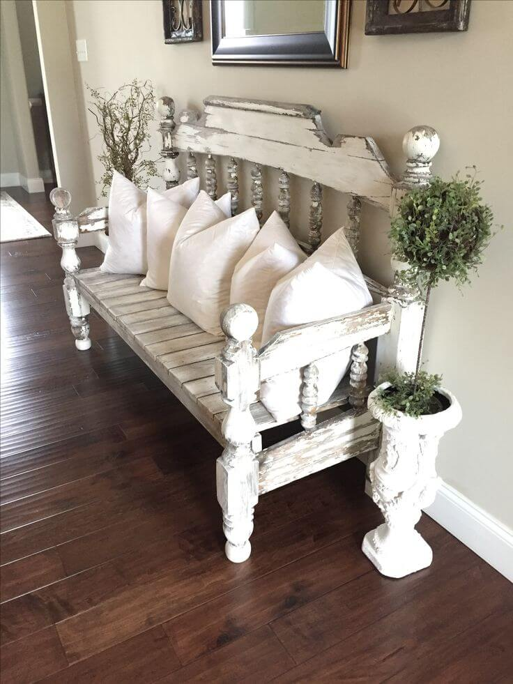 Distressed Headboard Bench Hallway Seating