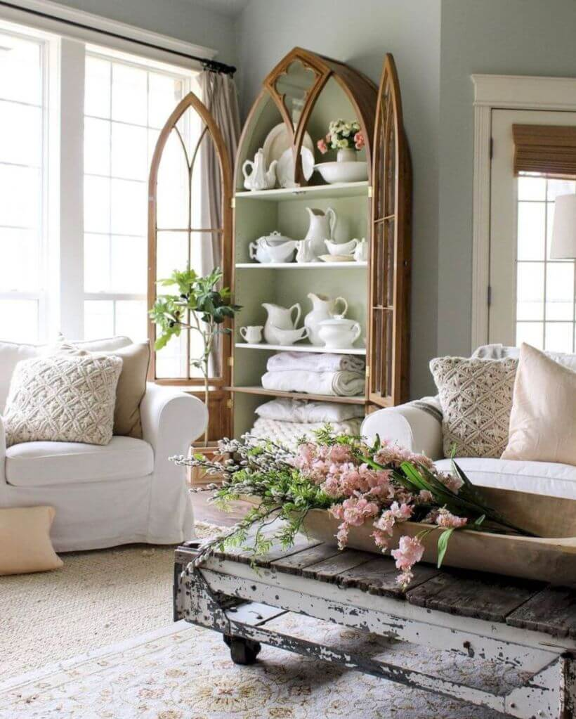 Elegant Gothic Revival China Cabinet