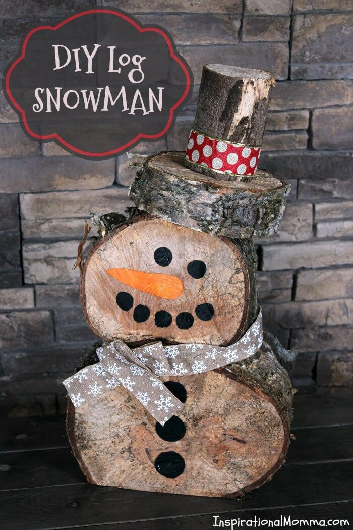 Hand Cut Wood Log Snowman