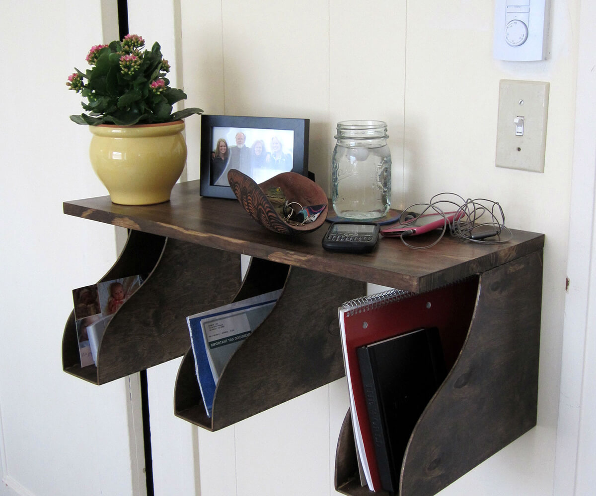 Suspended Wall Shelf with Dark Wood Finish