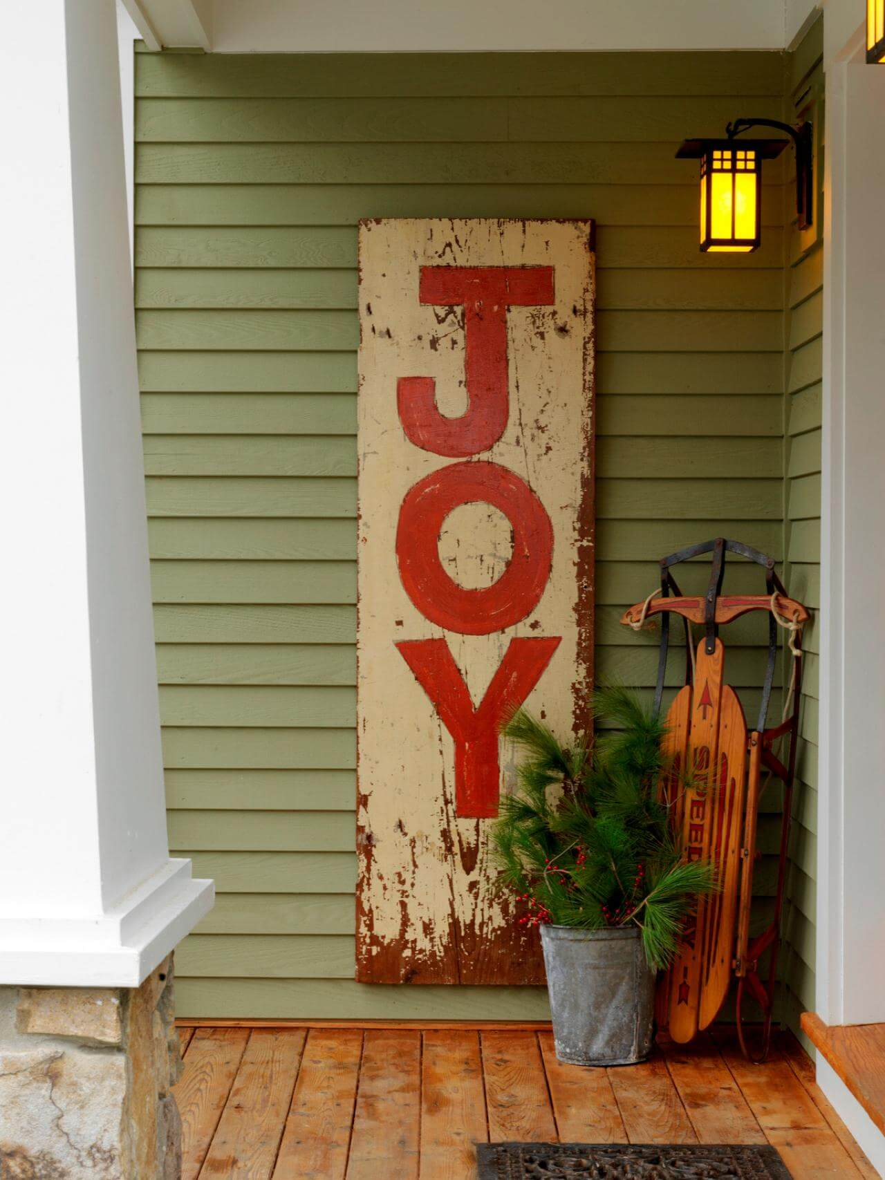 Weathered Wood Plank Christmas Sign
