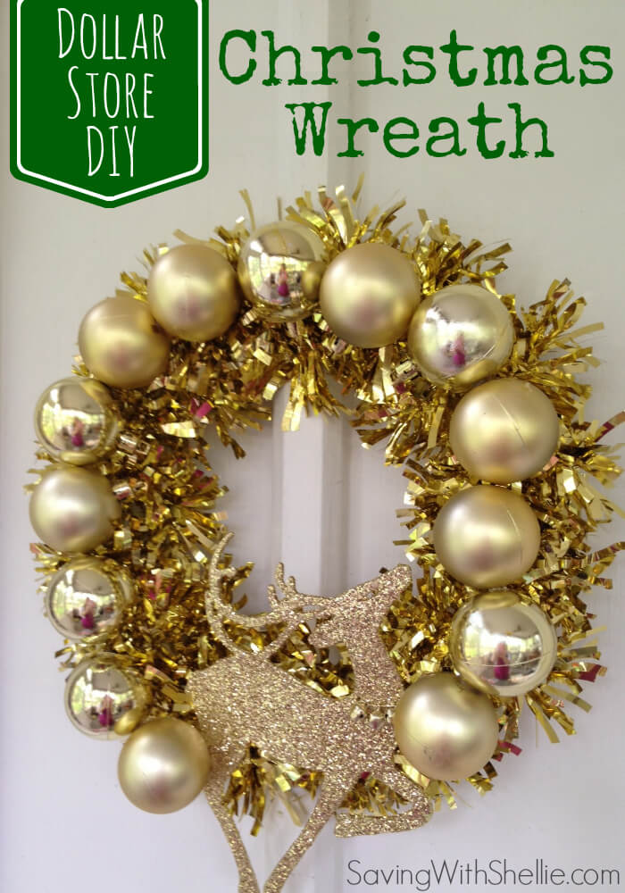 Glitzy Gold Dollar Store Reindeer Wreath