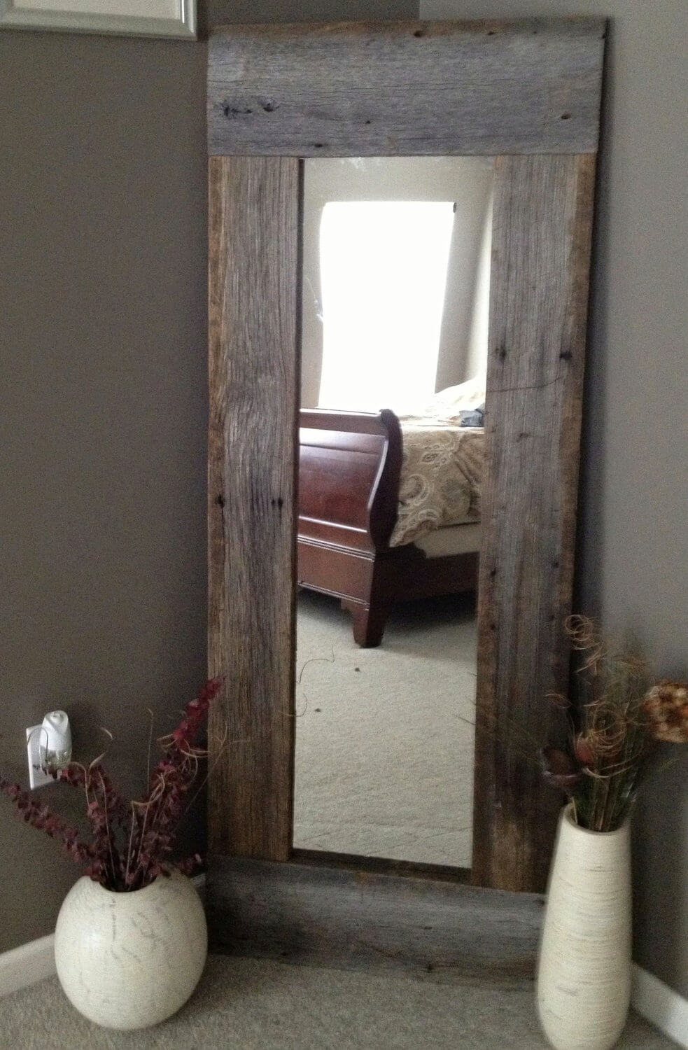 Full-Length Rectangular Barn Wood Mirror
