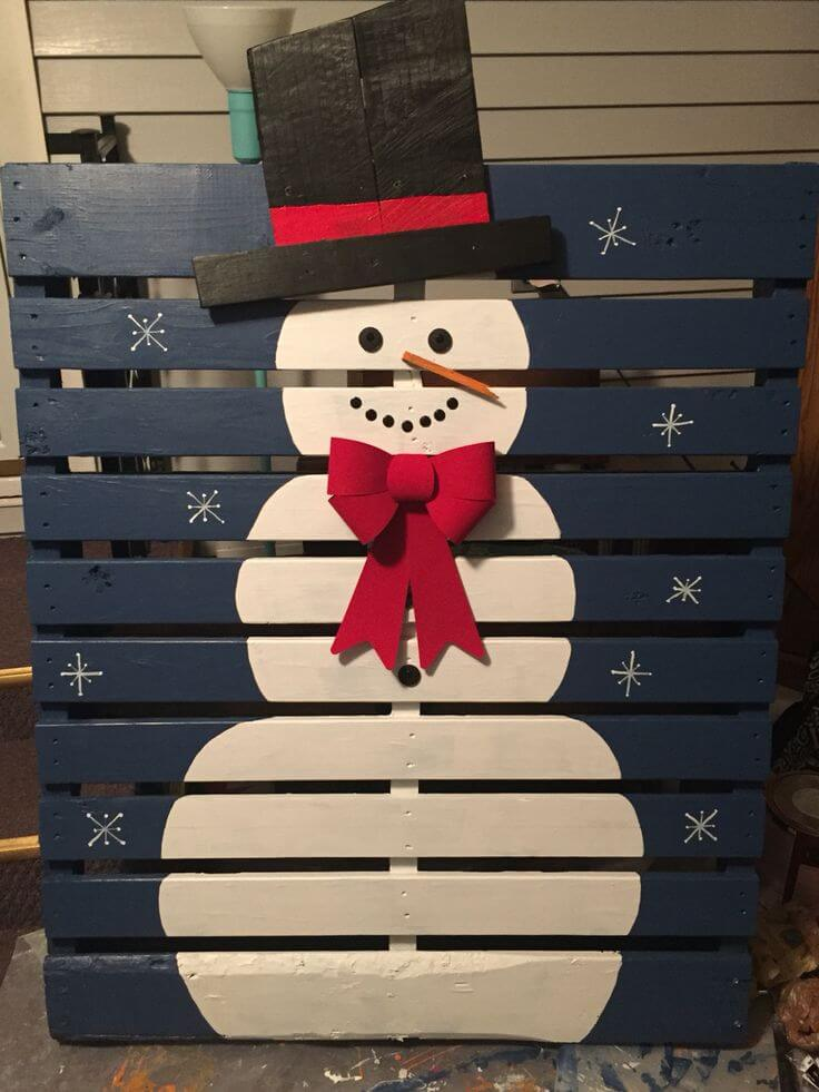 Wood Pallet Snowman at Night