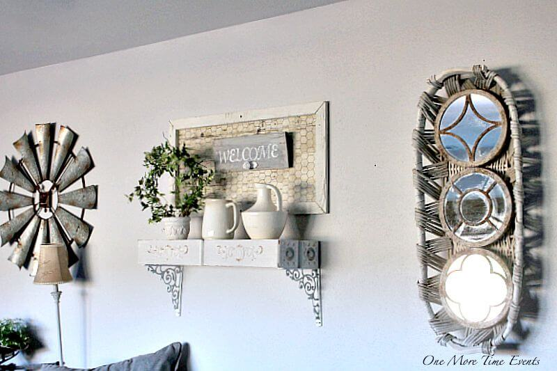 Gathering Basket Mirrors and Sewing Cabinet Shelves