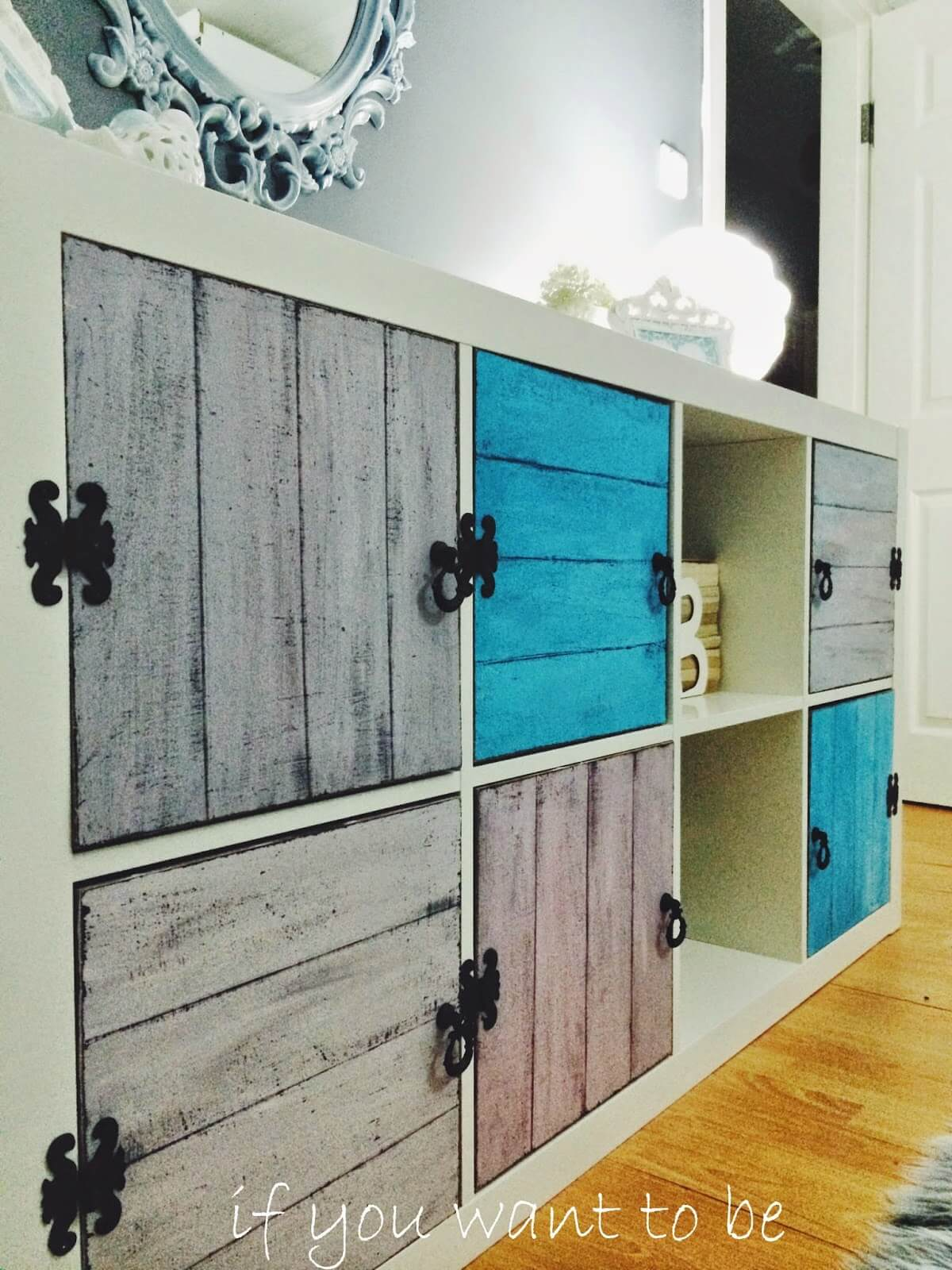 Rustic Wall Cabinet with Fancy Black Hinges