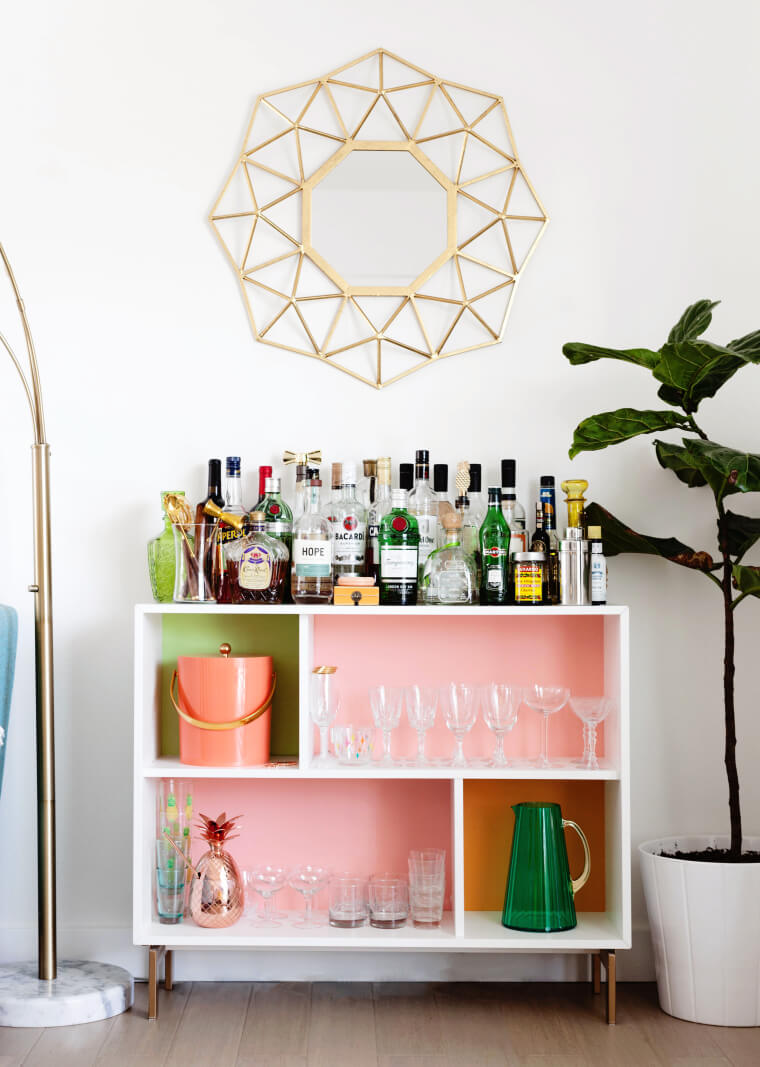 Colorful Modern Drink Station with Cubicle Shelves