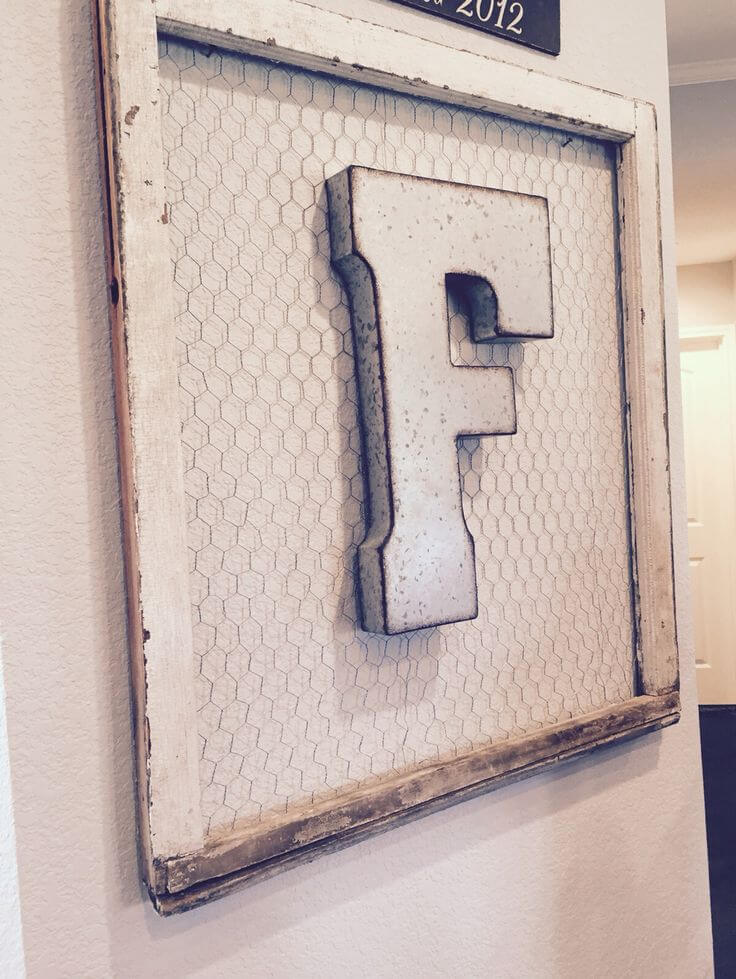 Chicken Wire Framed Family Monogram
