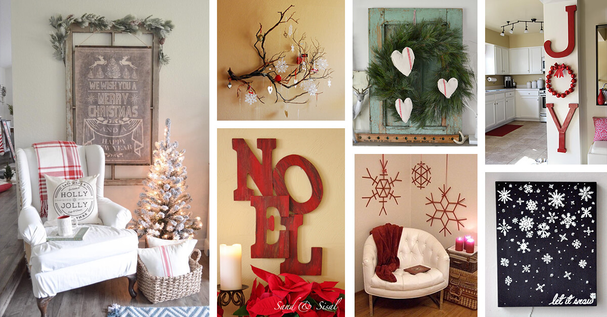 35 best christmas wall decor ideas and designs for 2019 - Wall decoration ideas for bedrooms ...