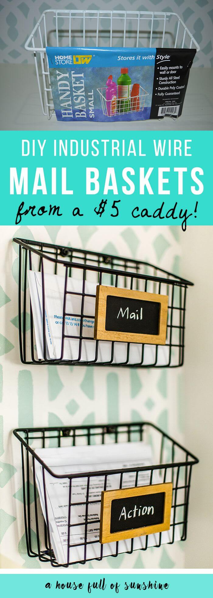 $5 DIY Mail Sorting Baskets