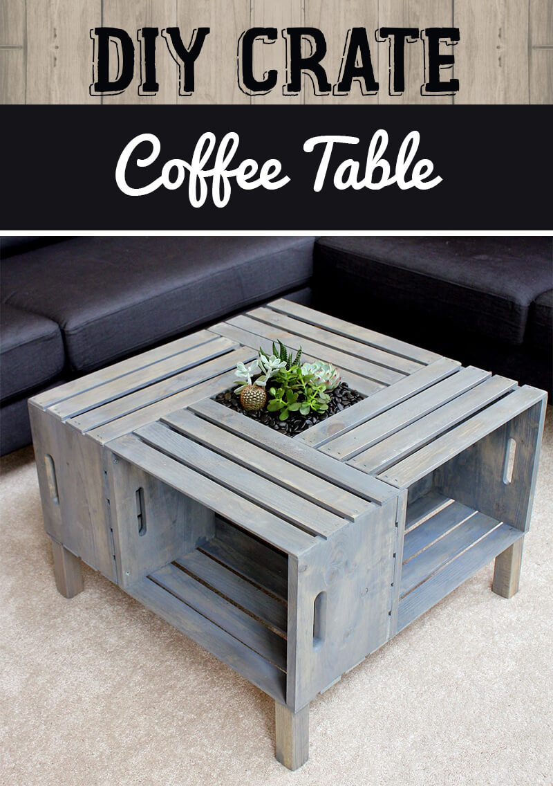 Four Crate Coffee Table and Planter