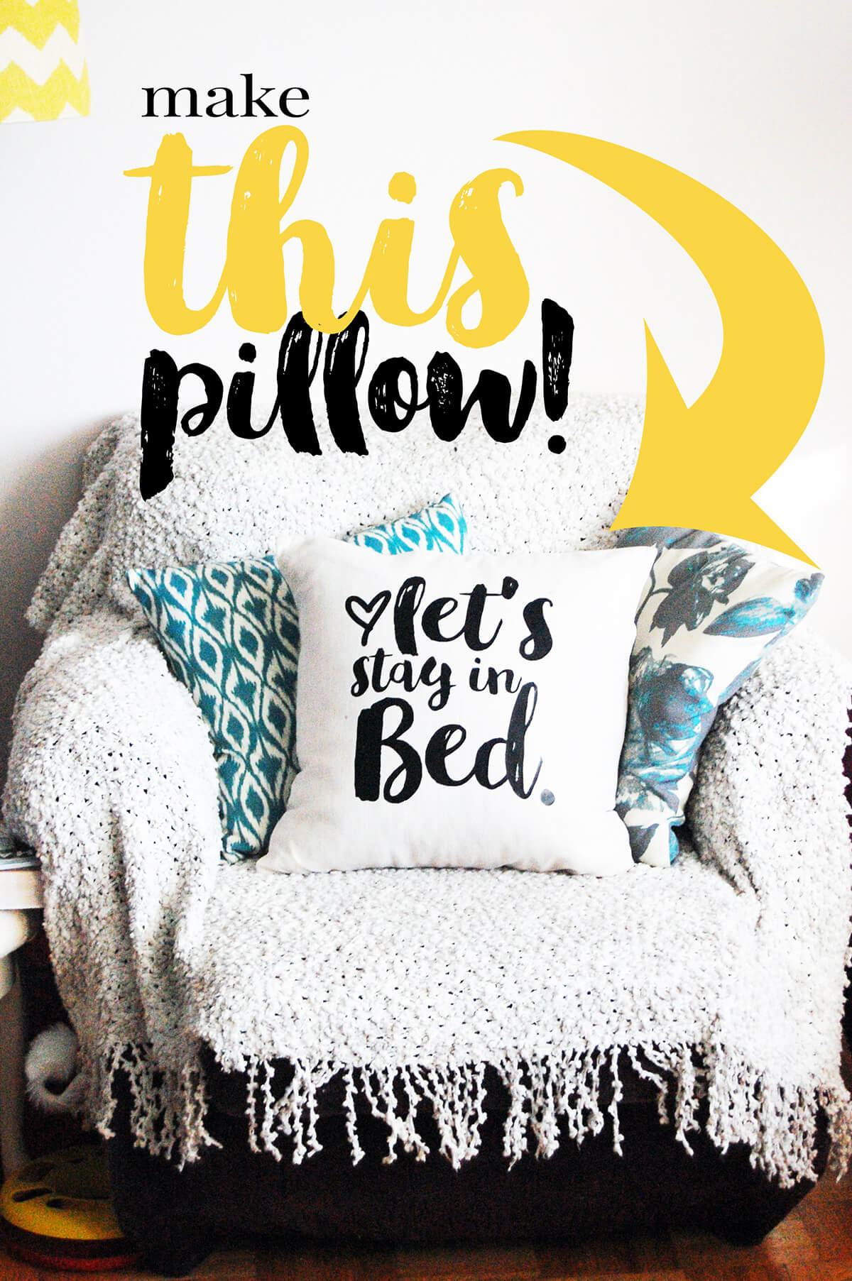 "Cute ""Let's Stay In Bed"" Pillow"