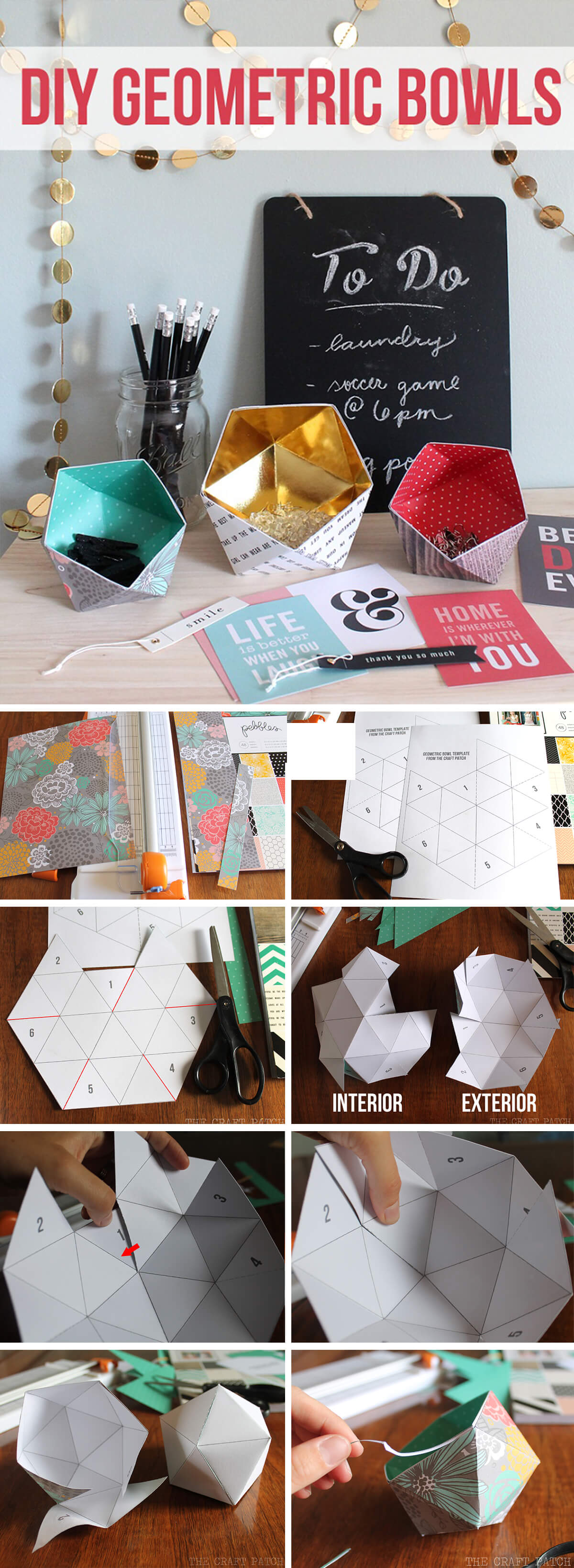 Pretty DIY Geometric Paper Bowls
