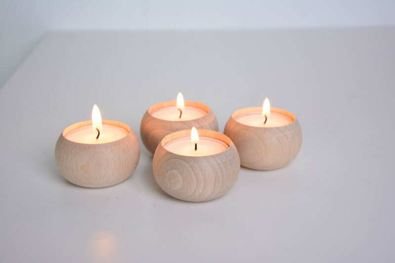 Scandinavian Style Modernist Beech Wood Tea Lights