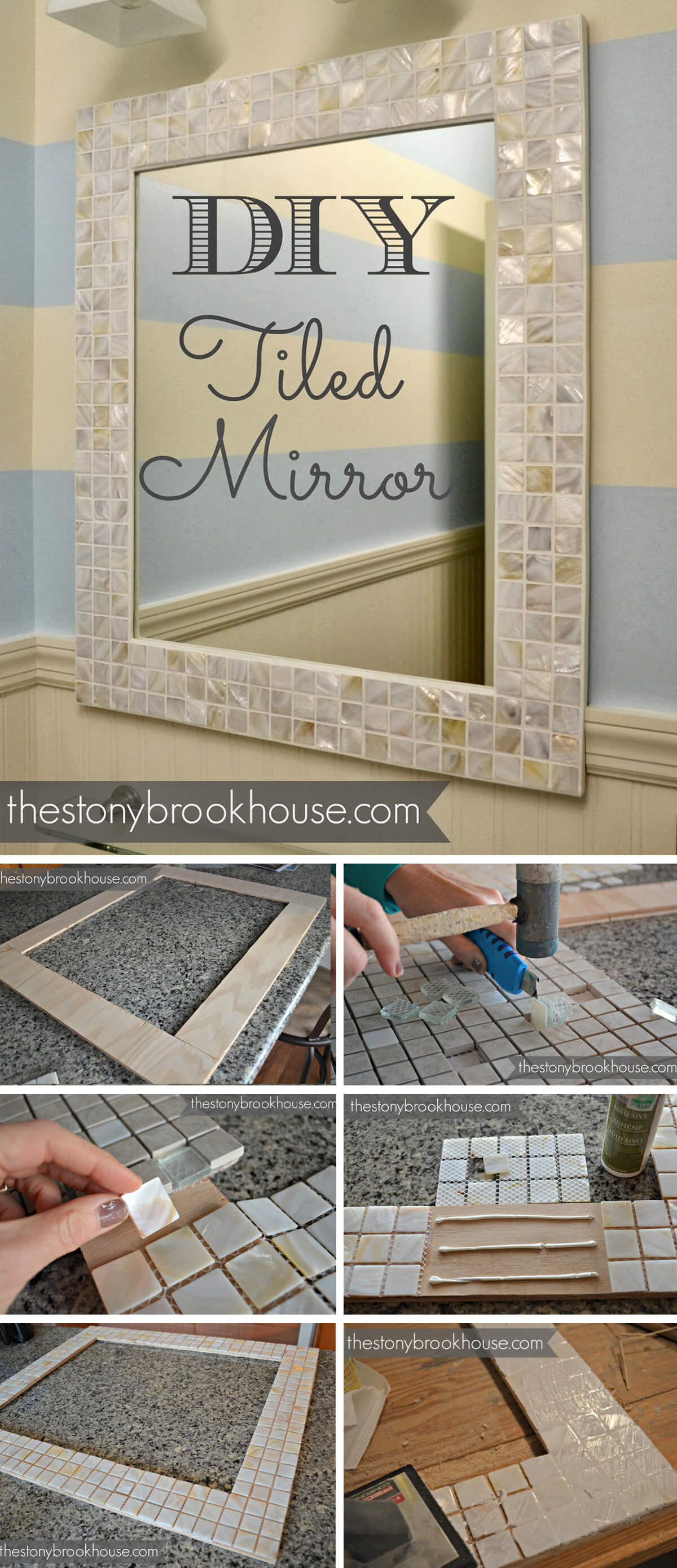 Pretty DIY Tiled Wall Mirror