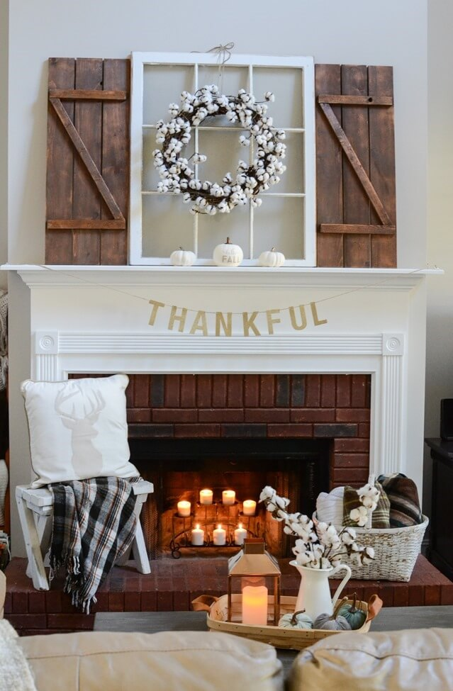 Farmhouse Mantel Decor Ideas For Thanksgiving