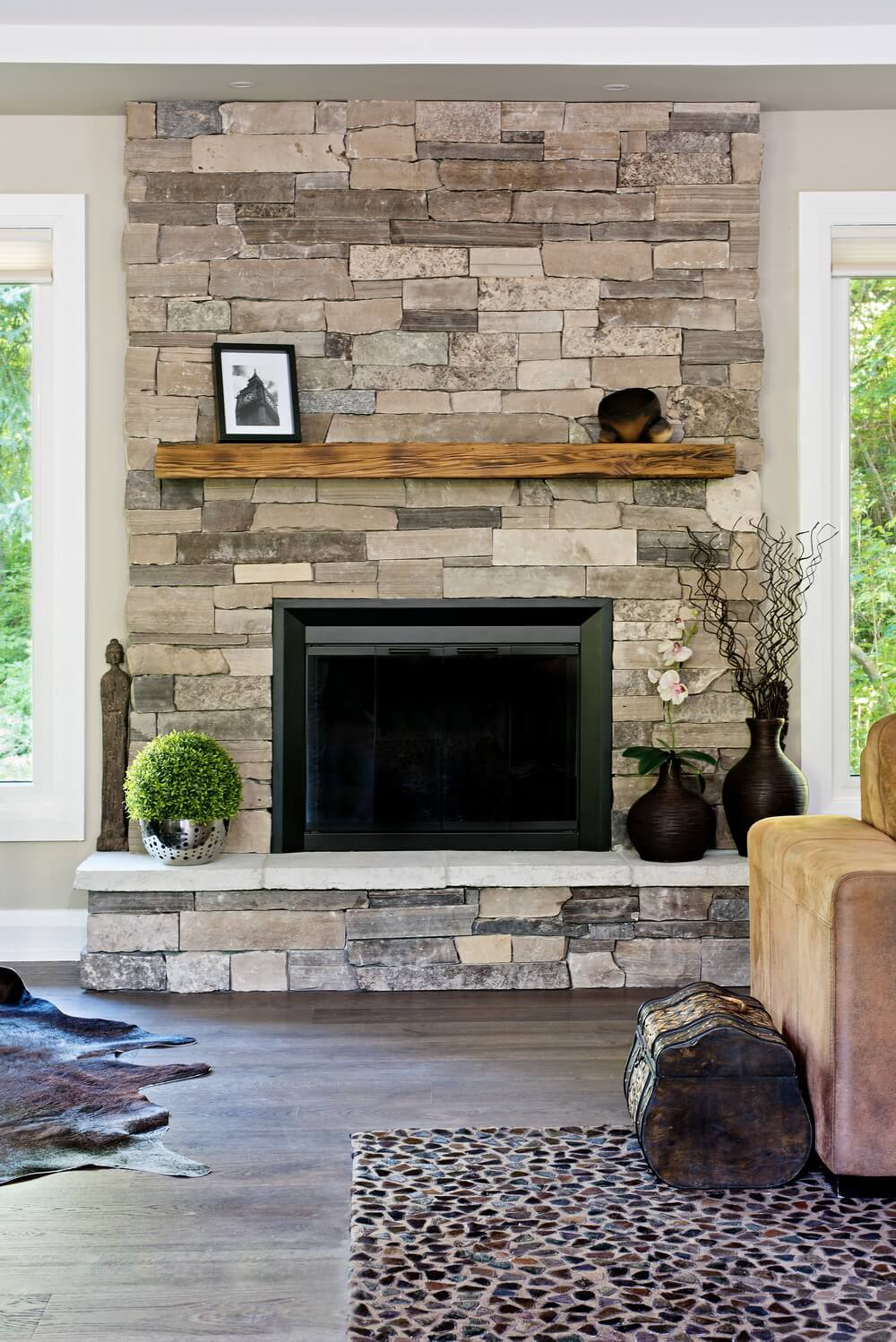 33 best interior stone wall ideas and designs for 2019 - Stone fireplace surround ideas ...