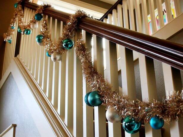 Gold and Green Ornament Stair Garland