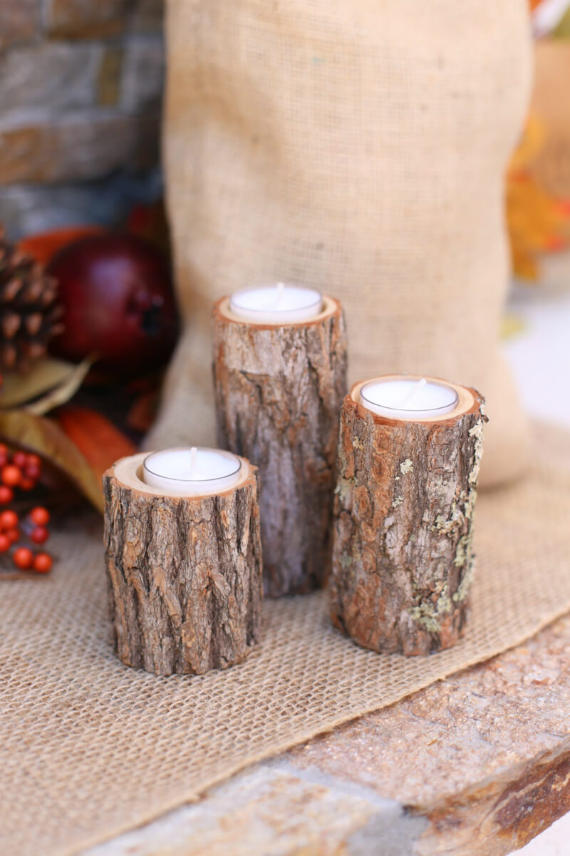 Rustic Tree Stump Tea Light Holder