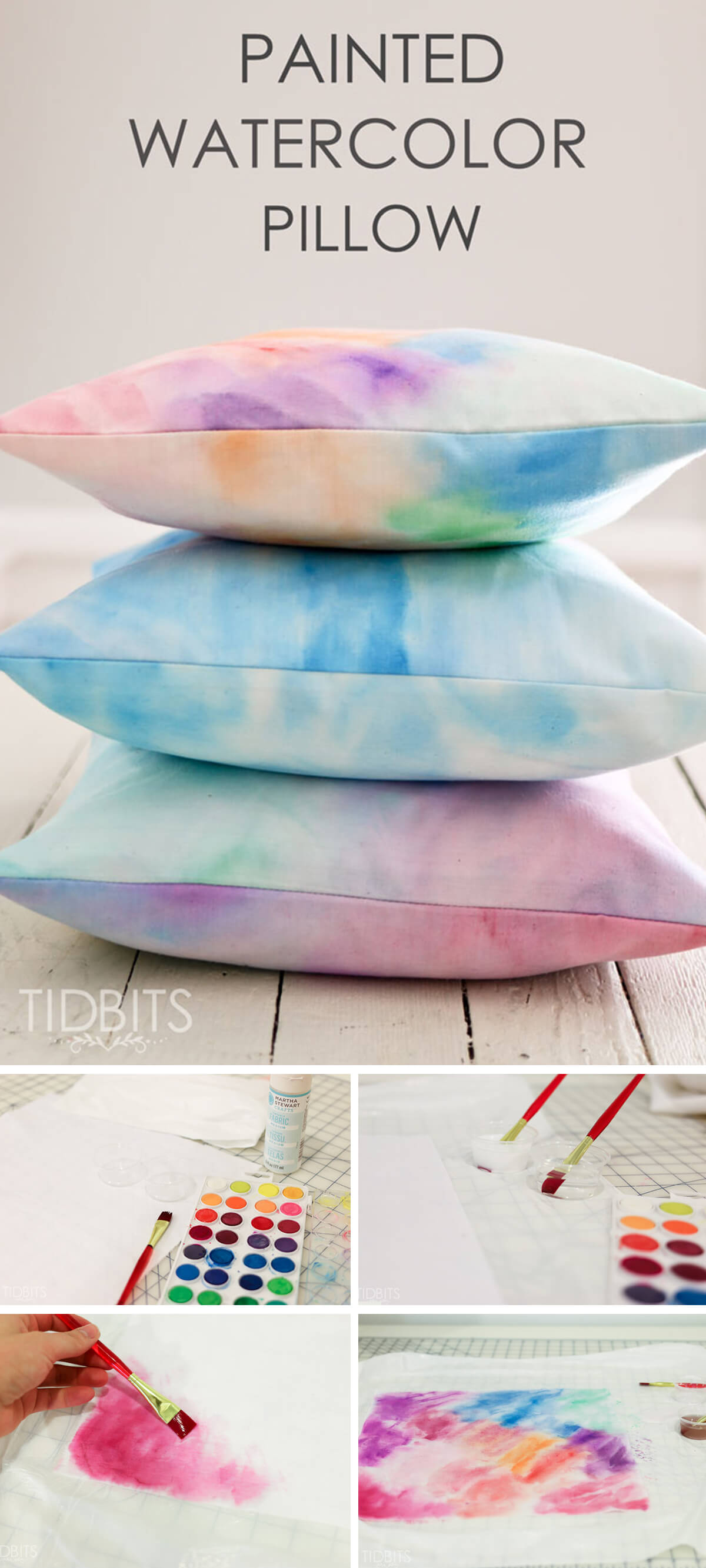 Hand Painted Water Color Pillow