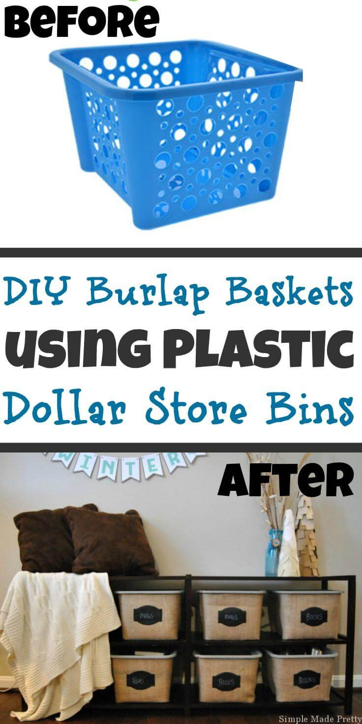 From Plastic Laundry Basket to Rustic Burlap Bin