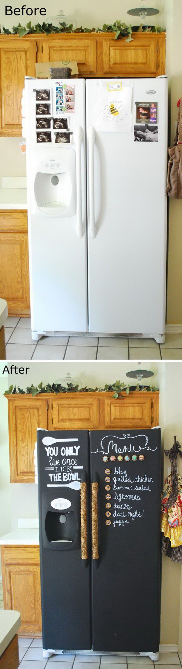 Chalkboard Front Fridge Refacing Idea