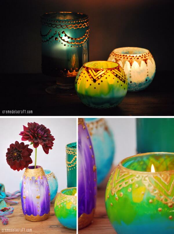 Persian Inspired Hand-Painted Votive Holders