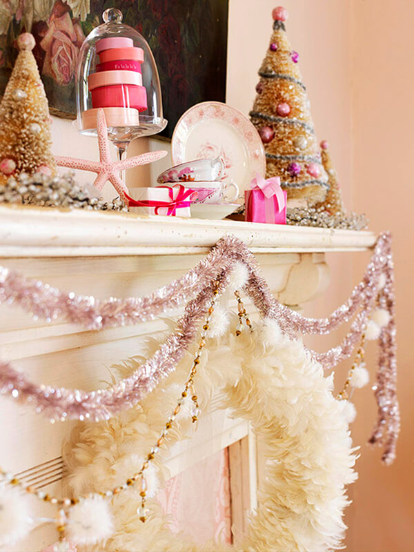 Mixed Garland Fireplace Mantel Décor