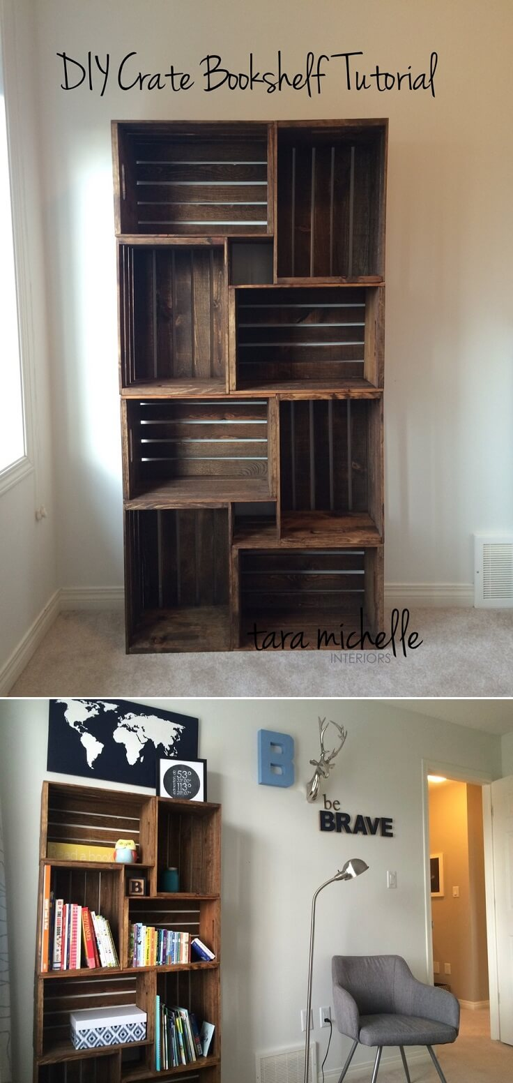 11. Make Your Own Stacked Crate Bookshelf