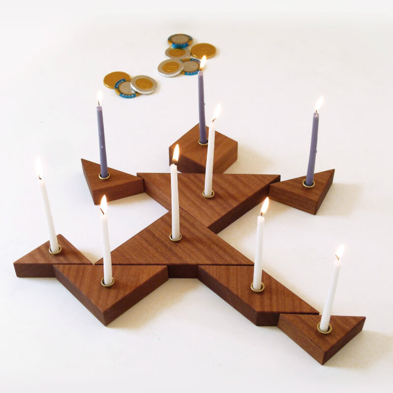 Wooden Tangram Puzzle Hanukkah Menorah
