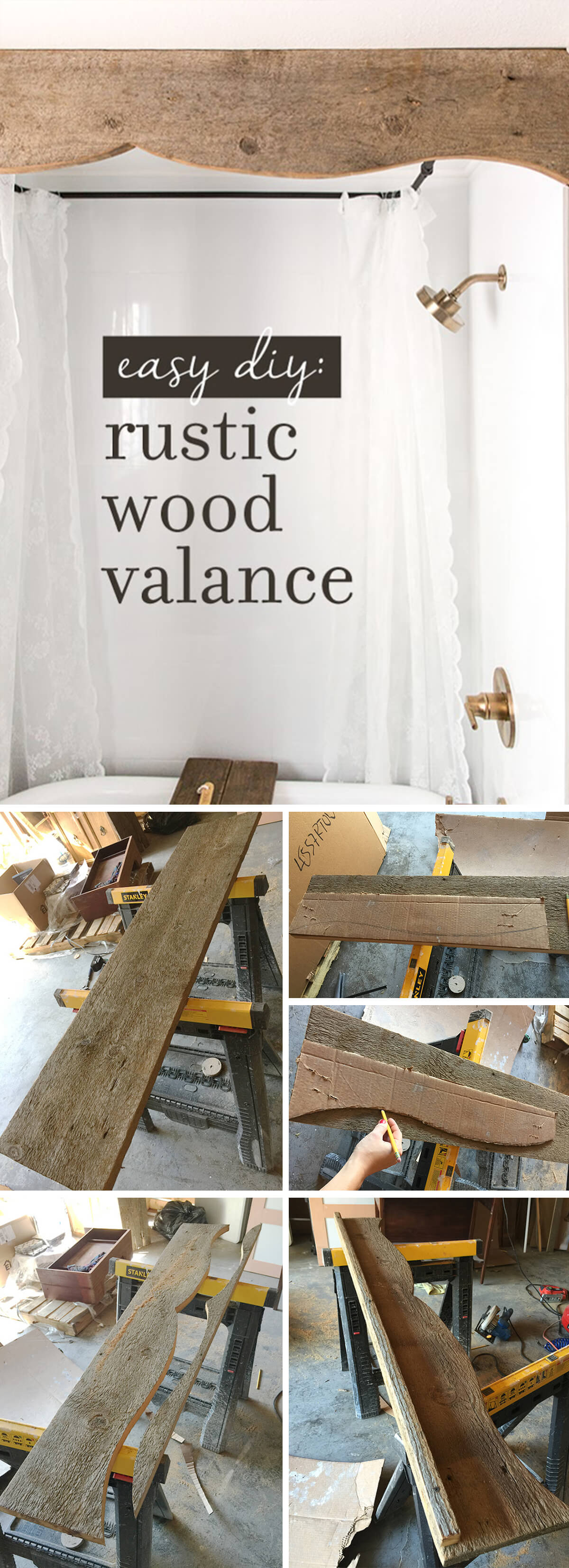 DIY Barn Wood Shower Valance