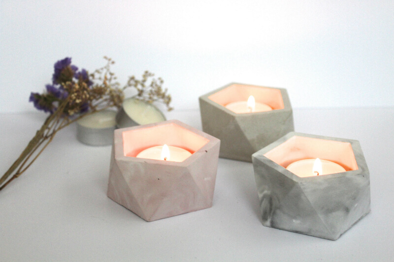 Faceted Concrete Marble Look Tea Light